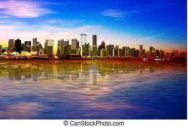 青, バンクーバー, 春, 抽象的, 日没, 背景, パノラマ, 空