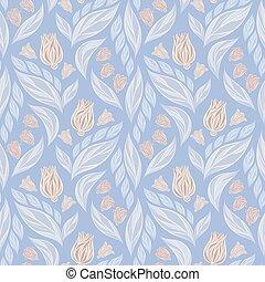 青, パステル, ベクトル, パターン, 抽象的, seamless, 色, ピンクの背景, 花, 白い花, 葉