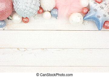 青, パステル, 上に, 装飾, クリスマス, ピンク, 木, 白, ボーダー, 上