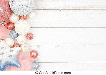 青, パステル, 上に, 装飾, クリスマス, ピンク, 木, 白, ボーダー, 側