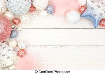 青, パステル, 上に, 装飾, ピンク, 木, コーナー, 白, ボーダー, クリスマス