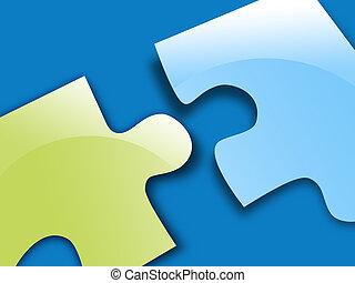 青, パズル小片, 緑, 解決
