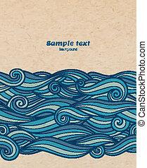 青, パターン, ベクトル, 背景, 波, ボール紙
