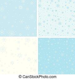 青, パターン, ベクトル, 雪片, seamless