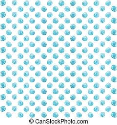 青, パターン, ポルカ, seamless, 水彩画のペンキ, circles., 点