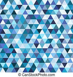 青, パターン, 幾何学的, 三角形, モザイク