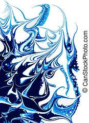 青, パターン, 抽象的, isolate., ペンキ, バックグラウンド。, 白, はねる