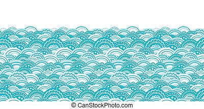 青, パターン, 抽象的, seamless, ベクトル, 背景, 波, 横, ボーダー