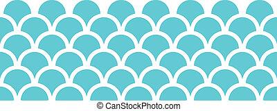 青, パターン, 抽象的, seamless, 背景, fishscale, 横
