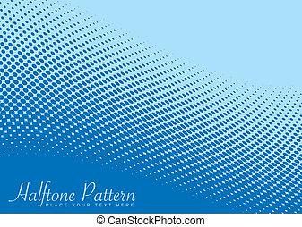 青, パターン, 波, halftone