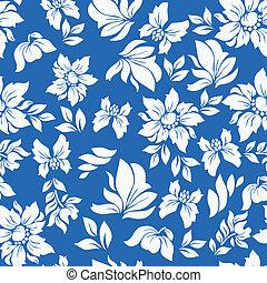 青, パターン, 花, aloha