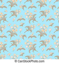 青, パターン, 装飾, seamless, 花
