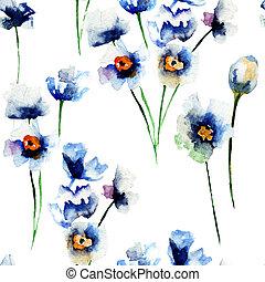 青, パターン, 野生, 花,  seamless