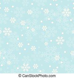 青, パターン, 雪片, クリスマス, seamless