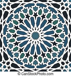 青, パターン, 黒, seamless, アラベスク