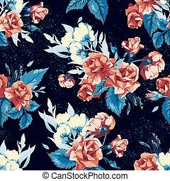 青, パターン, seamless, ばら, 背景, 花, 赤