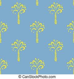 青, パターン, seamless, バックグラウンド。, ベクトル, やし