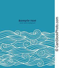 青, パターン, seamless, ベクトル, 背景, 波, ボーダー