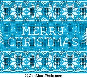 青, パターン, seamless, 印, 編まれる, メリークリスマス