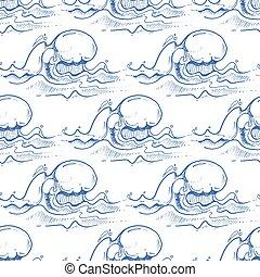 青, パターン, seamless, 手, ベクトル, 波, 引かれる