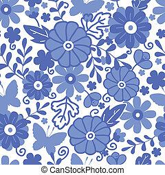 青, パターン, seamless, 背景, オランダ語, delft, 花