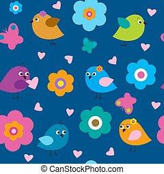 青, パターン, seamless, 背景, 流行, 鳥