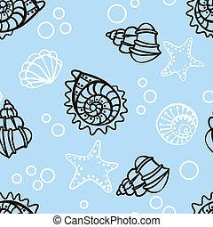 青, パターン, seamless, 背景, 貝殻