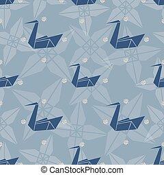 青, パターン, seamless, 背景, origami, 鳥