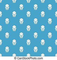 青, パターン, seamless, 頭骨