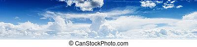 青, パノラマ, 空, 曇り