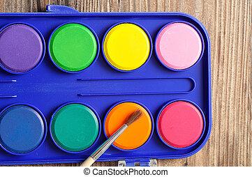 青, パレット, 容器, カラフルである, プラスチック, 水, ペンキ ブラシ