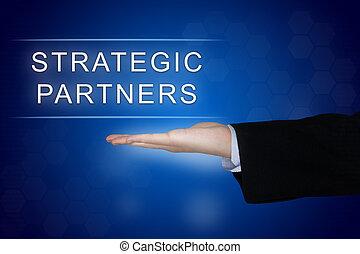 青, パートナー, ボタン, 背景, 戦略上である