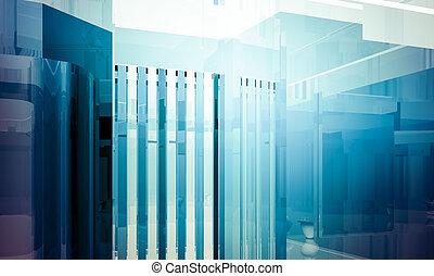 青, ビジネスオフィス, スペース, 窓, 屋内, 大きい, 効果, ライト, コラム, 空, 建物。