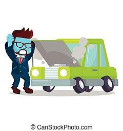 青, ビジネスマン, 壊される, パニックに陥る, 自動車