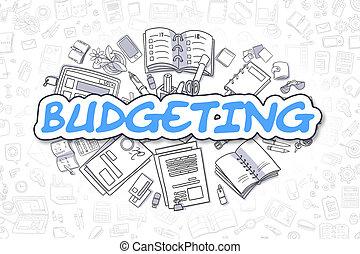 青, ビジネス, 予算を組む, concept., word., -, 漫画