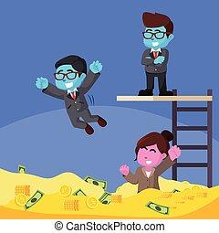 青, ビジネス 人々, お金, 楽しみ, 持つこと, プール