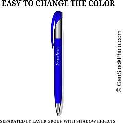 青, ビジネス, isolated., 高さ, ベクトル, pen., 品質