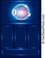 青, ビジョン, 目, 抽象的, イラスト, 人間