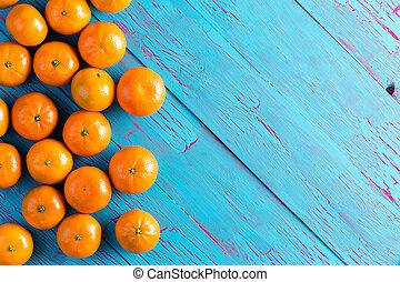 青, ピクニック, カラフルである, マンダリン, オレンジ, テーブル