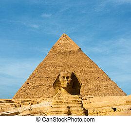 青, ピラミッド, スフィンクス, 真中に置かれた, 空, 顔, khafre