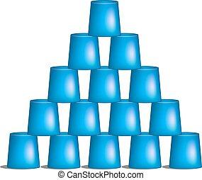 青, ピラミッド, デザイン, カップ