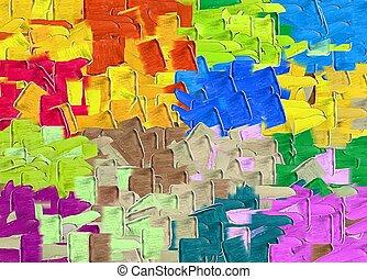 青, ピンク, カラフルである, ブラウン, 抽象的, 手ざわり, 緑, 黄色の背景, オレンジ, 絵, 赤