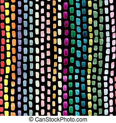 青, ピンク, ストローク, ペイントされた, 抽象的, seamless, 黄色, 手, バックグラウンド。, 色, 緑, ブラシ, 背景, 黒, 繰り返すこと