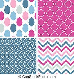 青, ピンク, セット, 背景, seamless, パターン, ikat, 幾何学的