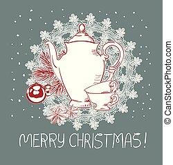 青, ピンク, ティーポット, 伝統的である, ベクトル, カップ, クリスマスカード