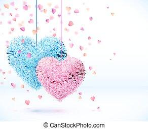 青, ピンク, バレンタイン, 背景, 対, 心, 日