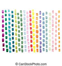 青, ピンク, ペイントされた, 抽象的, 黄色, 手, ストローク, 色, 緑, ブラシ, 背景, 白