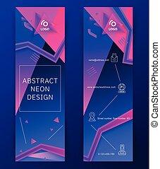青, ピンク, 三角形, 縦, 抽象的, ネオン, icons., banners., デザイン, 薄くなりなさい, 背景, 要素