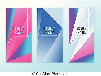 青, ピンク, 三角形, elements., 縦, 抽象的, ネオン, banners., デザイン, 背景