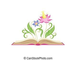 青, ピンク, 中心, すばらしい, アル中, leaves., イラスト, 大きい, バックグラウンド。, ベクトル, 花弁, すりこぎ, 白い花